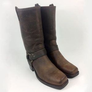 Frye 77300 Harness Brown Motorcycle Boots Size 9